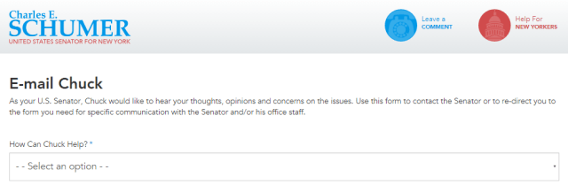 Contact Senator Charles E. Schumer