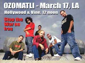 Ozomatli. March 17 L.A. antiwar protest