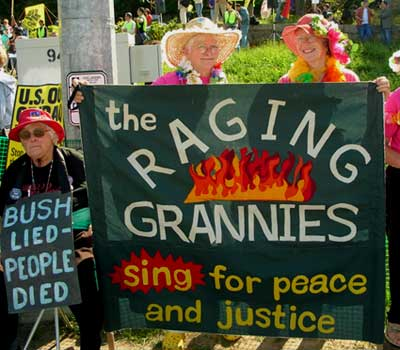 Raging Grannies. Bush protest, New London CT 5/23/07