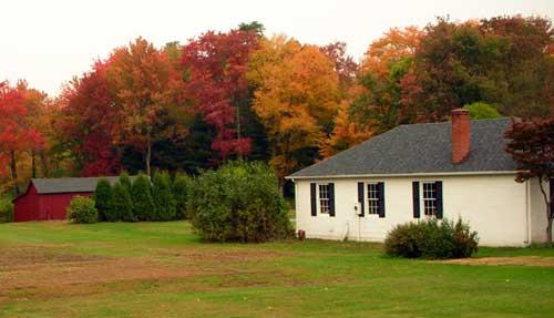 Fall foliage. Home and barn. Simsbury CT