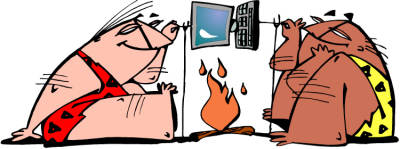 cavemen roasting laptop