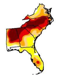 southeast US drought map, 01/28/08