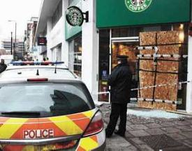 starbucks firebombed in London