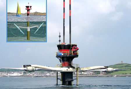 Marine Current Turbines can be raised above water for maintenance.