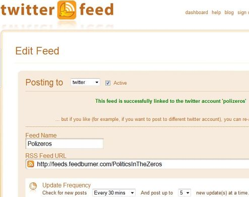 Configure Twitterfeed to repost from your Feedburner feed to Twitter