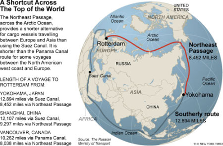 global warming shipping route