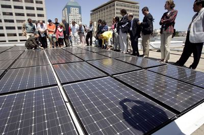 Urban solar panels in San Francisco. Credit: The Epoch Times