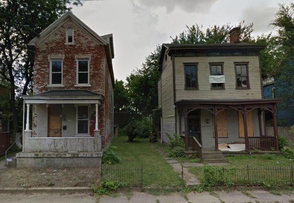 The same Cincinnati homes before restoration