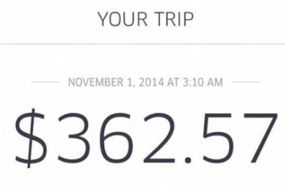The magic of Uber surge pricing for a 20 minute cab ride.
