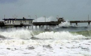 Big waves against pier