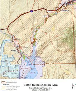 Cliven Bundy. BLM cattle closure area April 2014