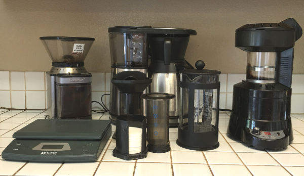 coffee gear. scale, grinder, brewer, roaster