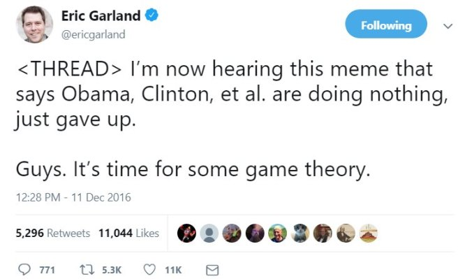 Eric Garland. Game Theory Thweet thread