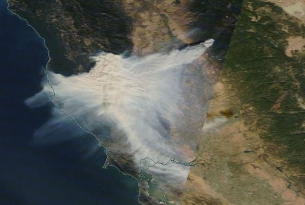 Camp Fire from space. NASA photo.