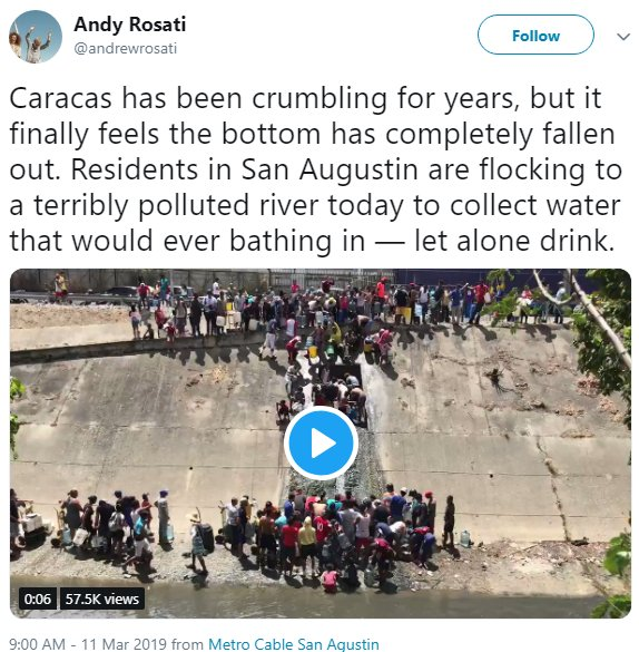 Venezuela power outages. Getting water from sewers