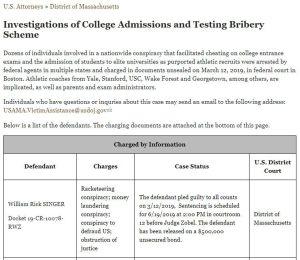 College bribing scandal. Rick Singer.