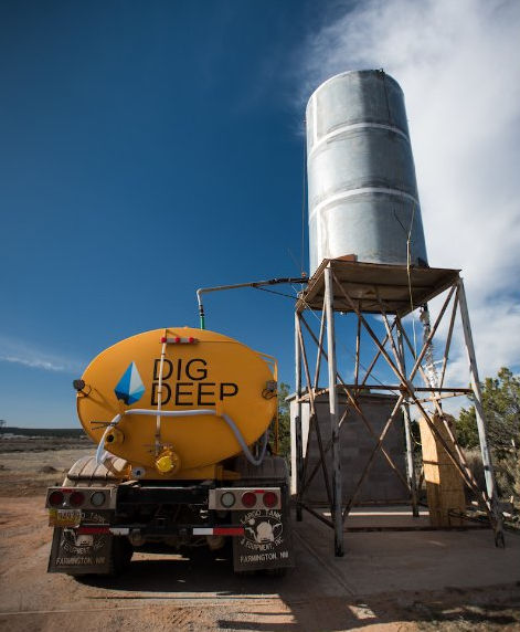 Navajo Water Project. Water truck and tank