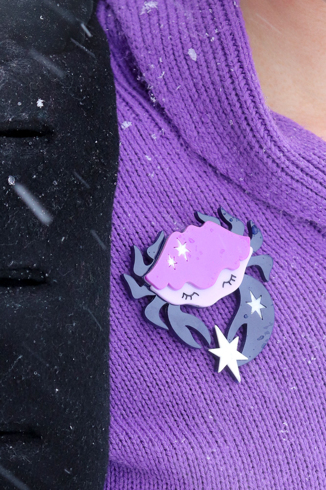 Erstwilder Cancer the Crab brooch in purple and navy,