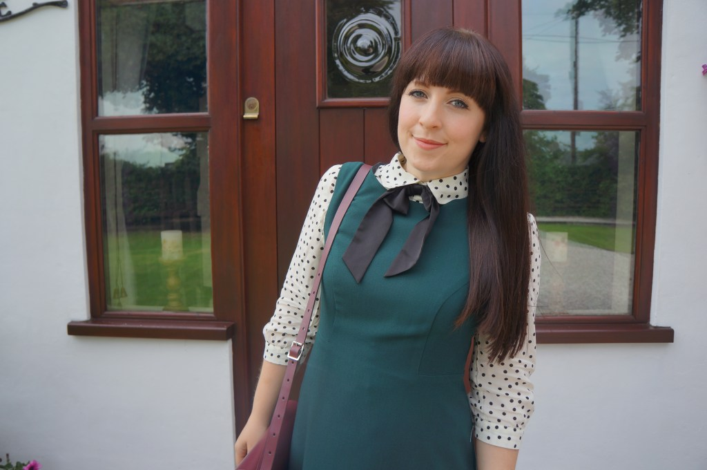 Tesco dress styled with polka dot blouse