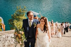 Polkadot Pink Wedding Day Image Walking up the steps at Lake Bled