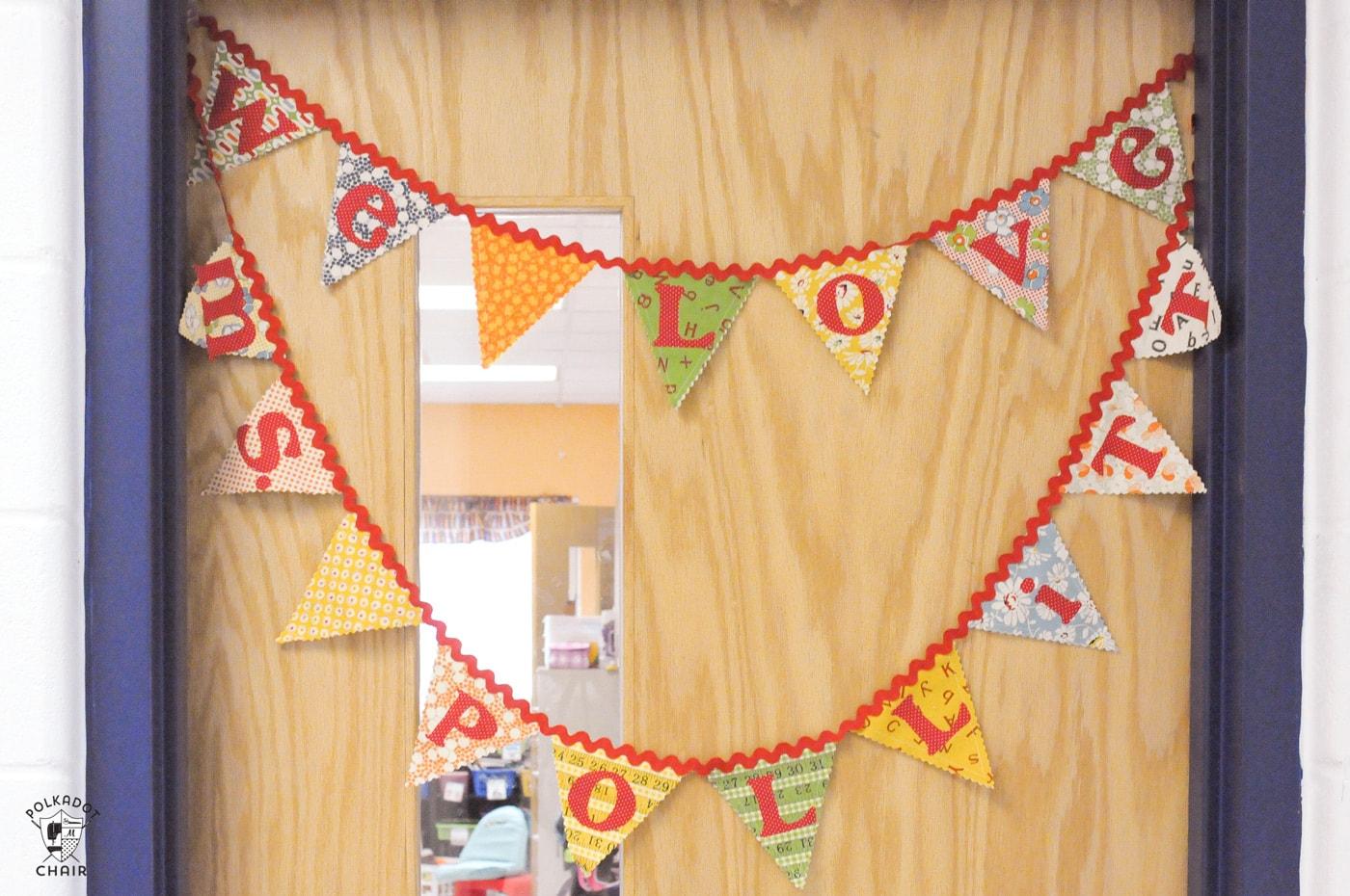 fabric pennant on classroom door