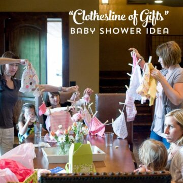 """Adorable Baby Shower Gift idea- give the new mom a """"clothesline"""" of baby gifts!"""