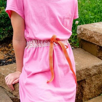 How to sew a summer sundress using two t-shirts- a cute t-shirt DIY refashion project.