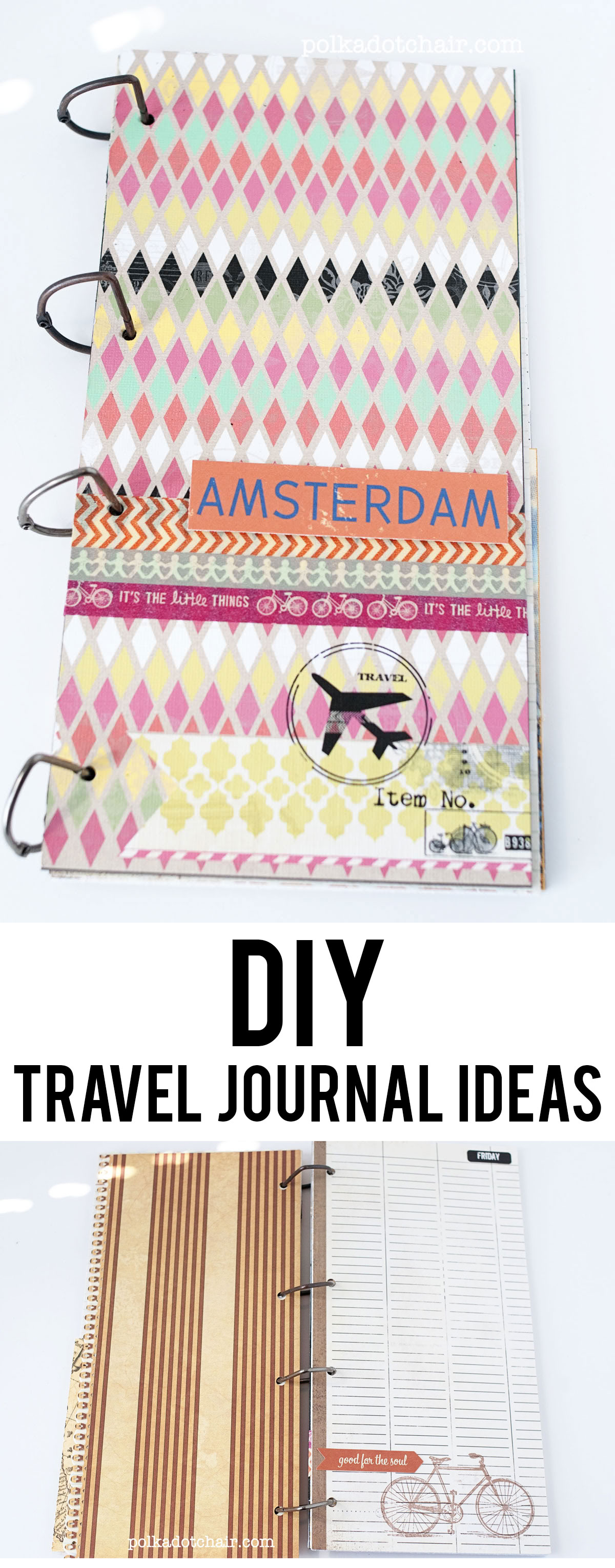 Use scrapbook paper and chipboard to customize your own travel journal. So easy!