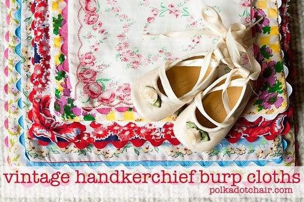 Vintage Handkerchief burp cloths