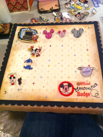 DIY Disney Pin Display- a great way to display your Disney Trading Pins after you are home from your trip!