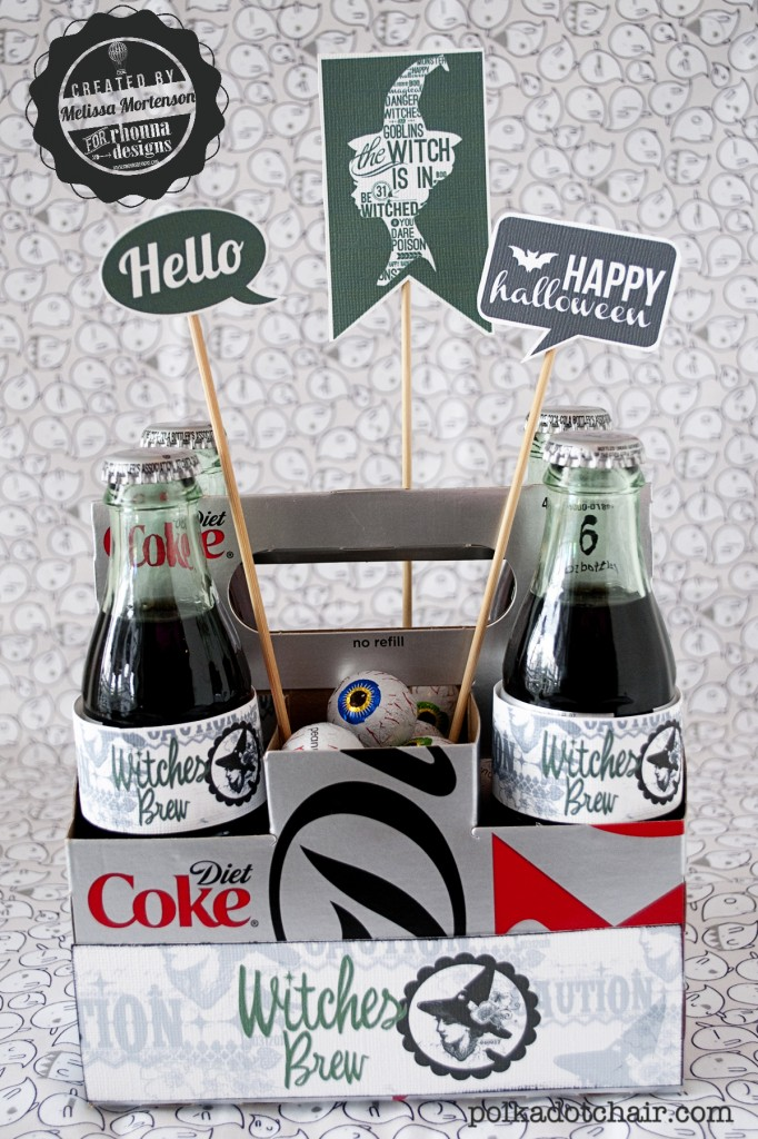 A free printable for a cute Halloween Gift Idea- Turn your favorite soda bottle into Witches Brew with this simple Halloween craft!