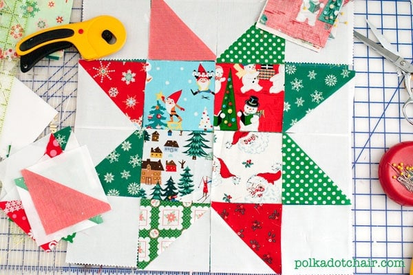 Star Block made of Christmas Fabrics