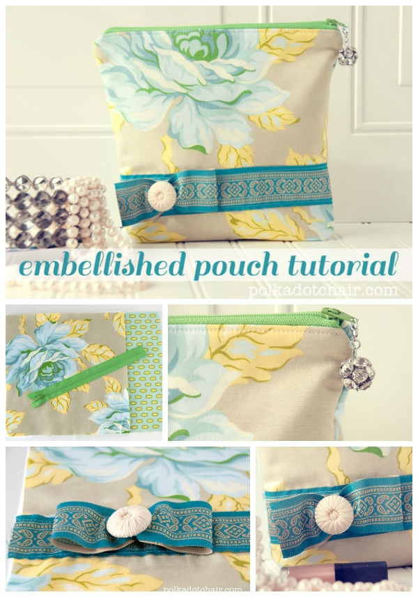 Free Sewing Pattern for an embellished stand up zippered pouch