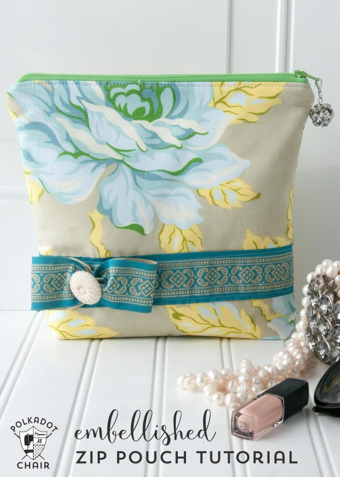 Free Sewing Pattern for an embellished stand up zippered pouch - fun little sewing tutorial