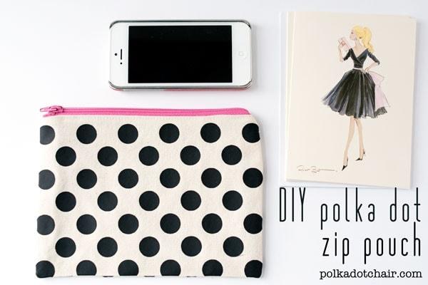 DIY Polka Dot Zip Pouch on the Polka Dot Chair