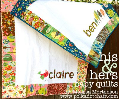 Free Tutorial for Personalized His & Hers Baby Quilts