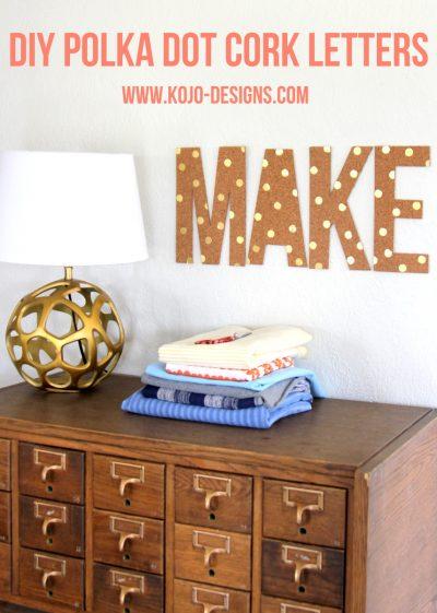 DIY Polka Dot Cork Letters