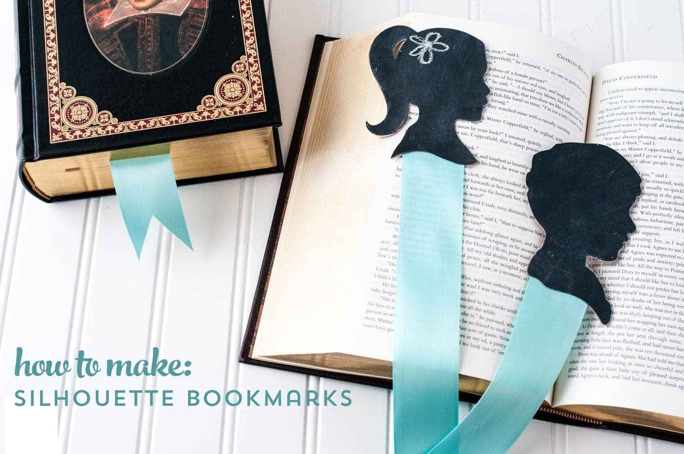 DIY Chalkboard Silhouette Bookmarks; a fun DIY Mother's Day Gift Idea