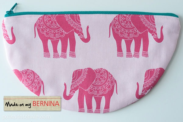 curved zip pouch