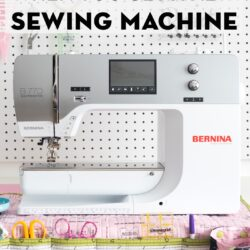 Bernina sewing machine in front of peg board