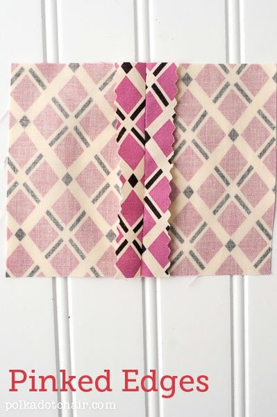 How to finish seams (even if you don't have a serger)... option #1: pinked seams... click for the rest of the options