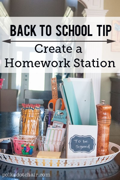 """Make homework time easier by creating this moveable """"Homework Station"""" on your kitchen table. Includes all the things kids might need when they are doing their homework."""