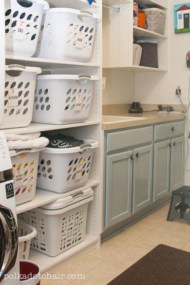 Laundry Room Shelving Idea- GENIUS!
