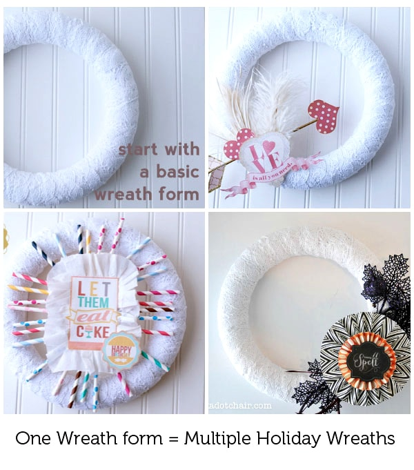 DIY Halloween Wreath Tutorial- the wreath is interchangeable, just switch out the decorations based on the seasons