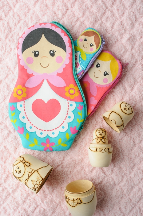 Nesting Matryoshka Dolls Zip Pouch Sewing Pattern