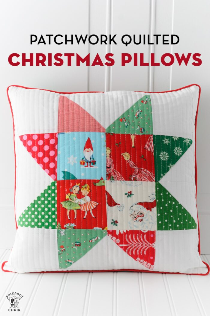 Patchwork Christmas pillows on white table