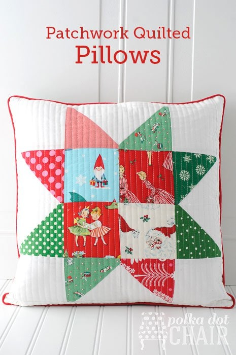 "Tutorial for Christmas Patchwork ""Star Block"" Pillows made from ""vintage"" Christmas fabrics"
