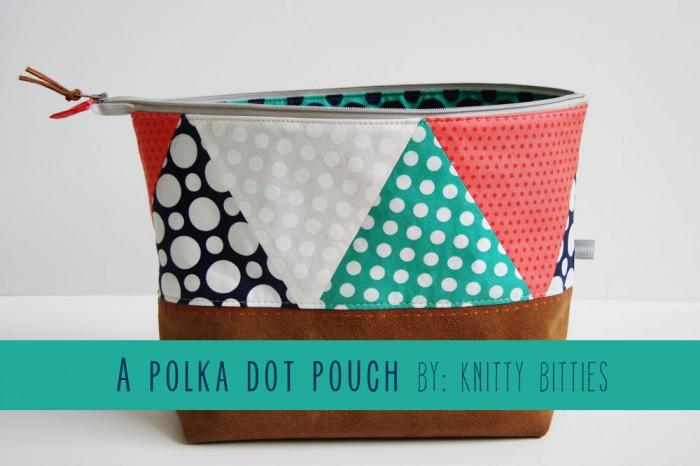 Polka Dot & Leather Zip Pouch by Knitty Bitties