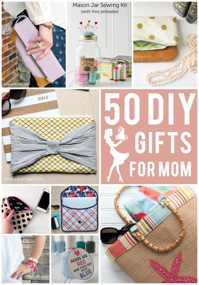 More than 50 clever, cute, creative and simple DIY Gift Ideas for Mother's Day - ideas for what to make for Mom, includes lots of last minute gift ideas!