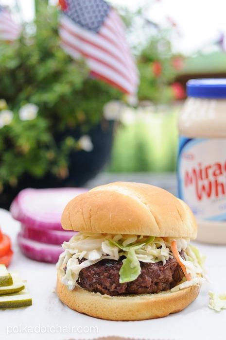 Cabbage and Pineapple Slaw Burger Recipe on polkadotchair.com